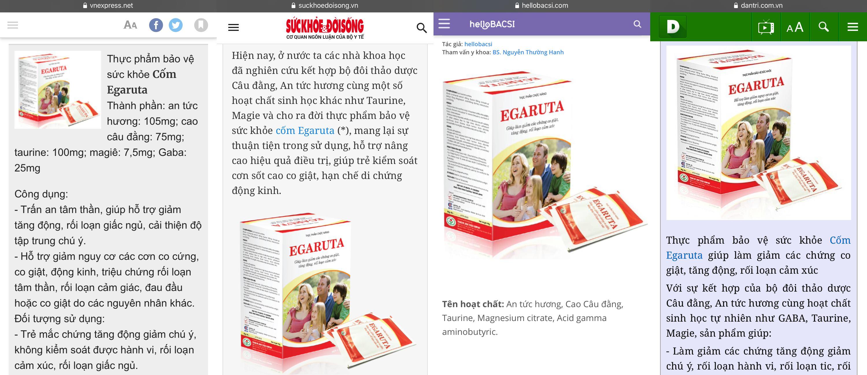 Thông tin cốm Egaruta được đăng tải trên nhiều trang báo lớn